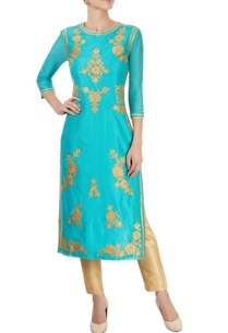 turquoise-blue-kurta-with-appliques