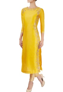 marigold-yellow-applique-kurta