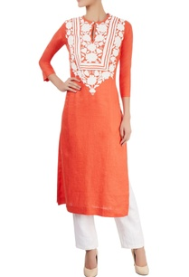 orange-kurta-with-appliqued-bodice