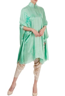aqua-green-beige-hand-painted-dhoti-set