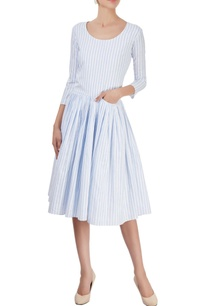 blue-white-striped-dress