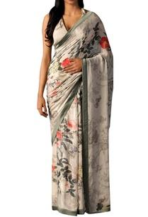 ecru-grey-sari-with-floral-print