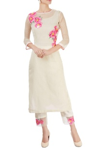 off-white-floral-kurta-with-pants