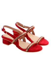 red-block-heels-with-stone-work