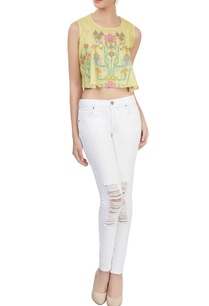 yellow-printed-crop-top