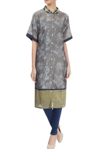 grey-printed-shirt-kurta