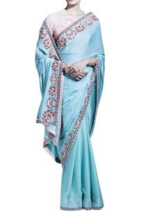 light-blue-sari-with-striped-light-pink-blouse