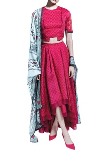 red-printed-skirt-set-with-a-mint-green-dupatta