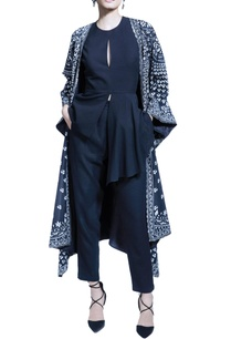 black-pant-set-with-digital-printed-cape