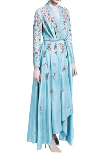 blue-wrap-dress-with-dhoti-pants