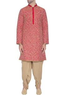 red-silk-embroidered-kurta