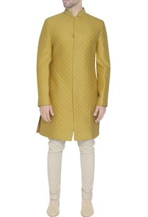 yellow-quilted-sherwani