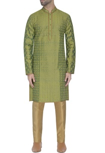 green-silk-embroidered-kurta