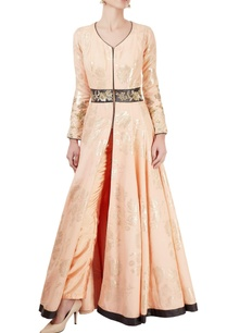 peach-anarkali-set-with-embroidered-panel