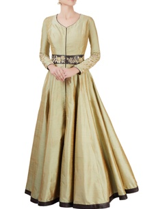 mehendi-green-anarkali-with-embroidered-panel