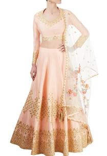 peach-lehenga-set-with-gota-patti