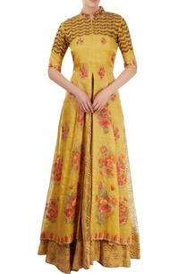 mustard-yellow-embroidered-lehenga-set-with-hand-painting