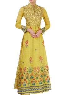 yellowish-green-hand-painted-jacket-lehenga