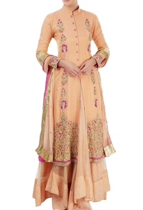 peach-embroidered-jacket-lehenga-set-with-hand-painting