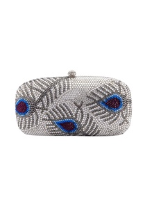 multi-colored-feather-motif-clutch