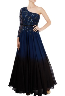 navy-blue-black-embroidered-gown