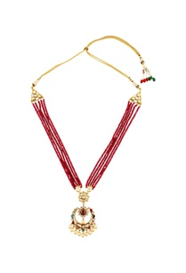 red-beaded-necklace-with-studded-pendant