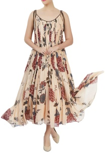 cream-floral-printed-dress