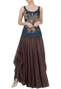 brown-polka-dot-skirt-with-blue-tank-top