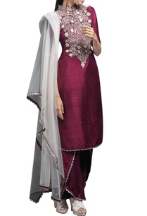 wine-embroidered-kurta-set