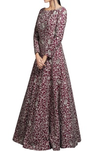 wine-red-embroidered-silk-gown
