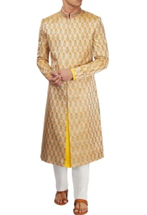 beige-brocade-sherwani-with-white-pants