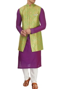 purple-green-kurta-set