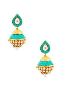 turquoise-jhumkas-with-kundan-crystals