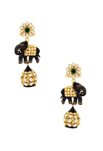 black-gold-earrings-with-elephant-motif