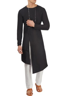 black-asymmetric-long-kurta