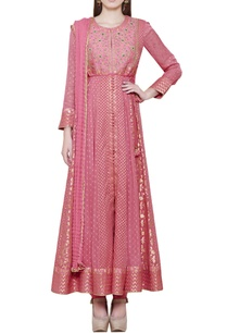 dark-coral-pink-anarkali-set