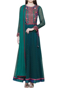 teal-embroidered-anarkali-set