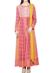 pink-orange-block-printed-anarkali-set