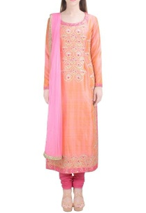 light-orange-embroidered-kurta-set