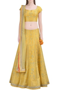 lemon-yellow-embroidered-lehenga-set