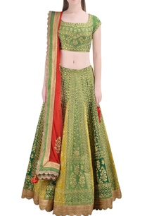 green-zari-embroidered-lehenga-set