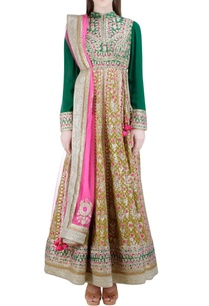 dark-green-gold-gota-embroidered-anarkali-set
