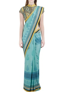 blue-floral-block-printed-sari