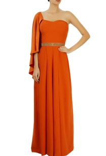 orange-pleated-one-shoulder-jumpsuit