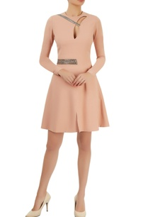 peach-embellished-flared-dress