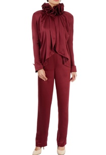 wine-red-ruffle-top-trousers