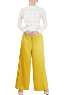 white-eyelet-shirt-mustard-yellow-trousers