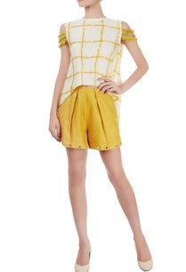 white-checkered-top-mustard-eyelet-shorts