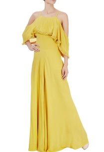 mustard-yellow-cold-shoulder-jumpsuit