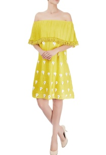 canary-yellow-off-shoulder-dress